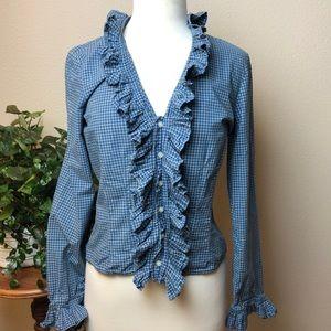 Lauren Jeans Co Ralph Lauren Ruffled Blouse Size M